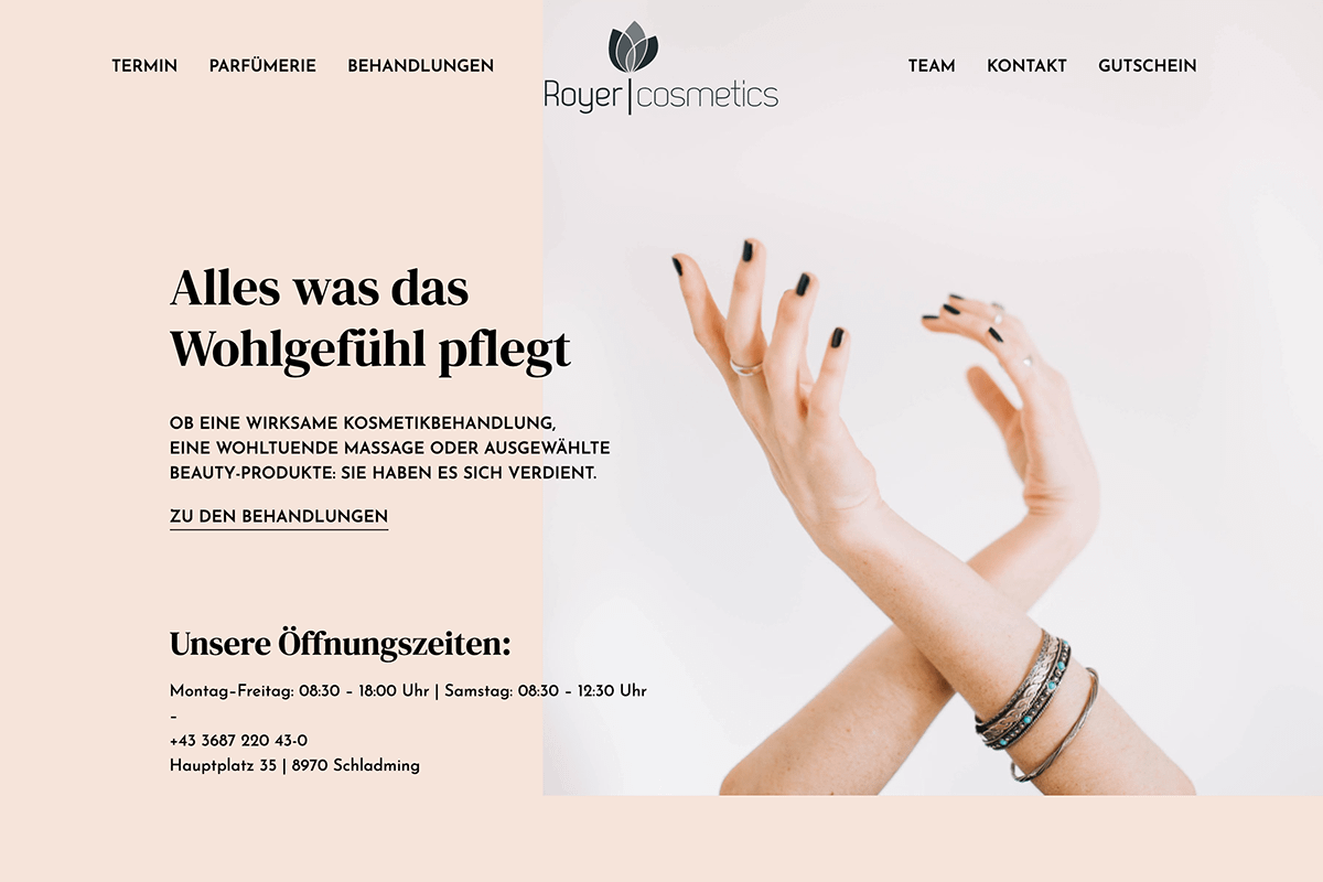 Royer Cosmetics Website Preview