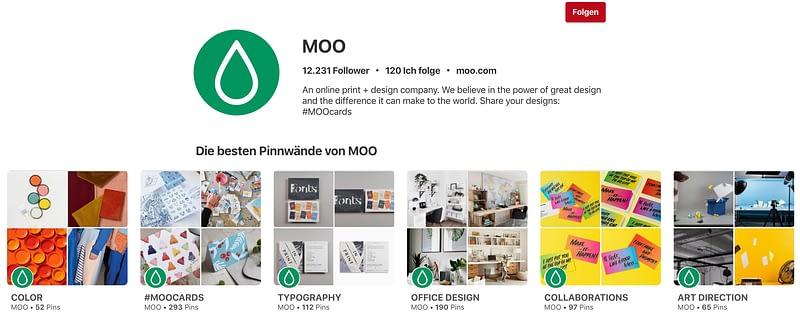 Screenshot der Moo Pinterest Seite.